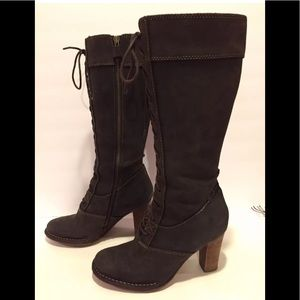 Frye villager lace up knee high boots heels 6.5